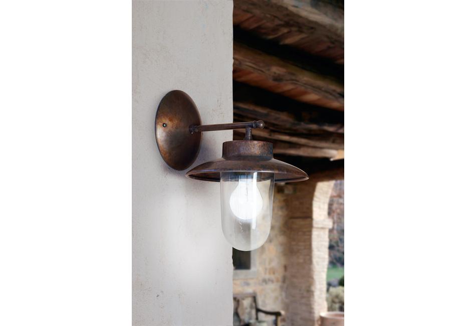 Lampada per esterni applique in rame e ottone: la traviata aldo