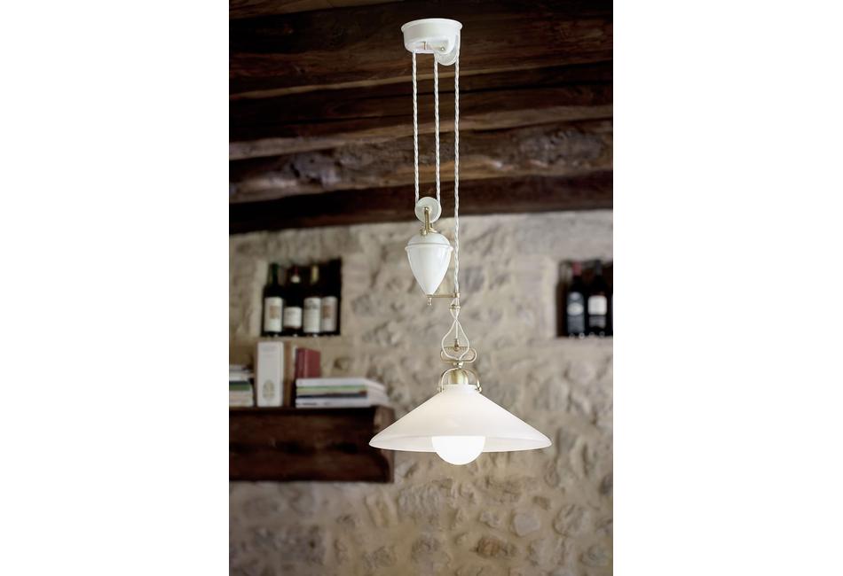 Lampade per interni saliscendi applique in ottone e ceramica