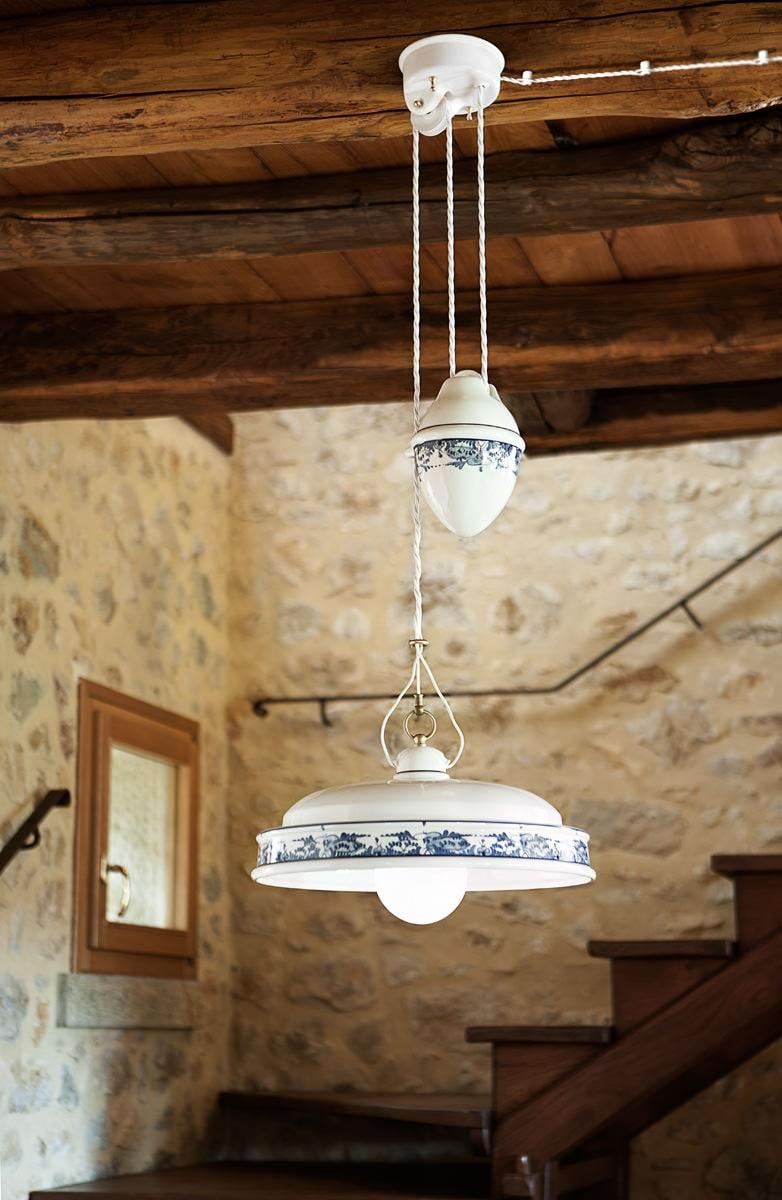 Lampadari con saliscendi ceramica  Delft   Aldo Bernardi -> Lampadari Cucina Con Saliscendi