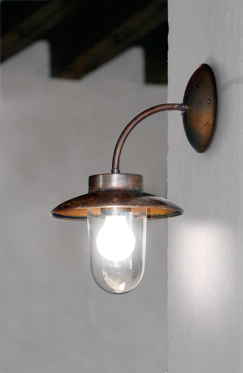 Lampada per esterni applique in rame e ottone la traviata aldo bernardi - Lampade da esterno da parete ...