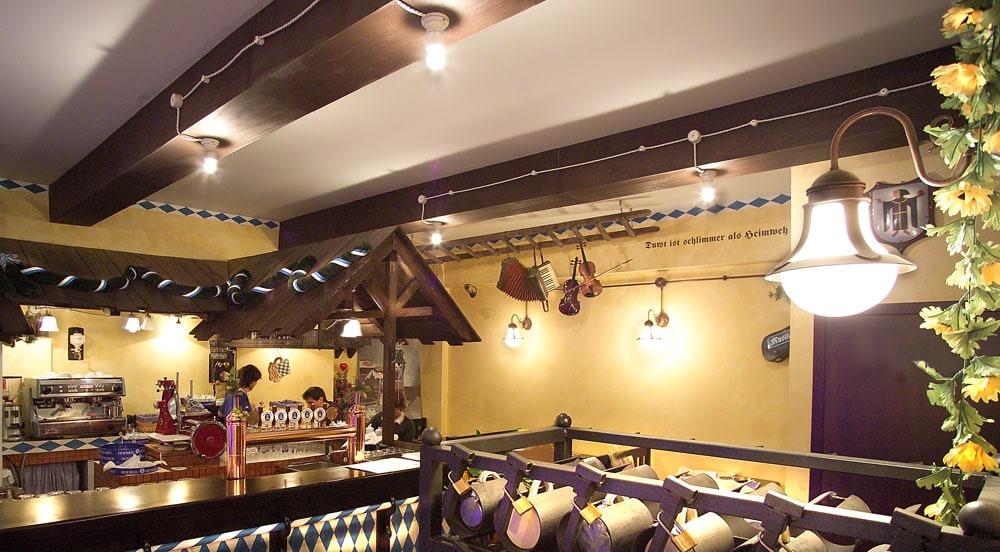 Illuminazione interni pub e ristorante hofbrauehaus genova